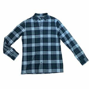 Vince Navy & Green Long Sleeve Plaid Button Down